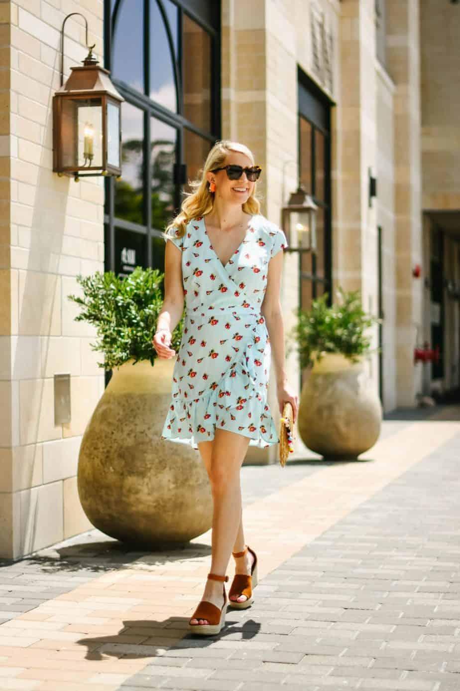 Blue Floral Dress By Restaurant