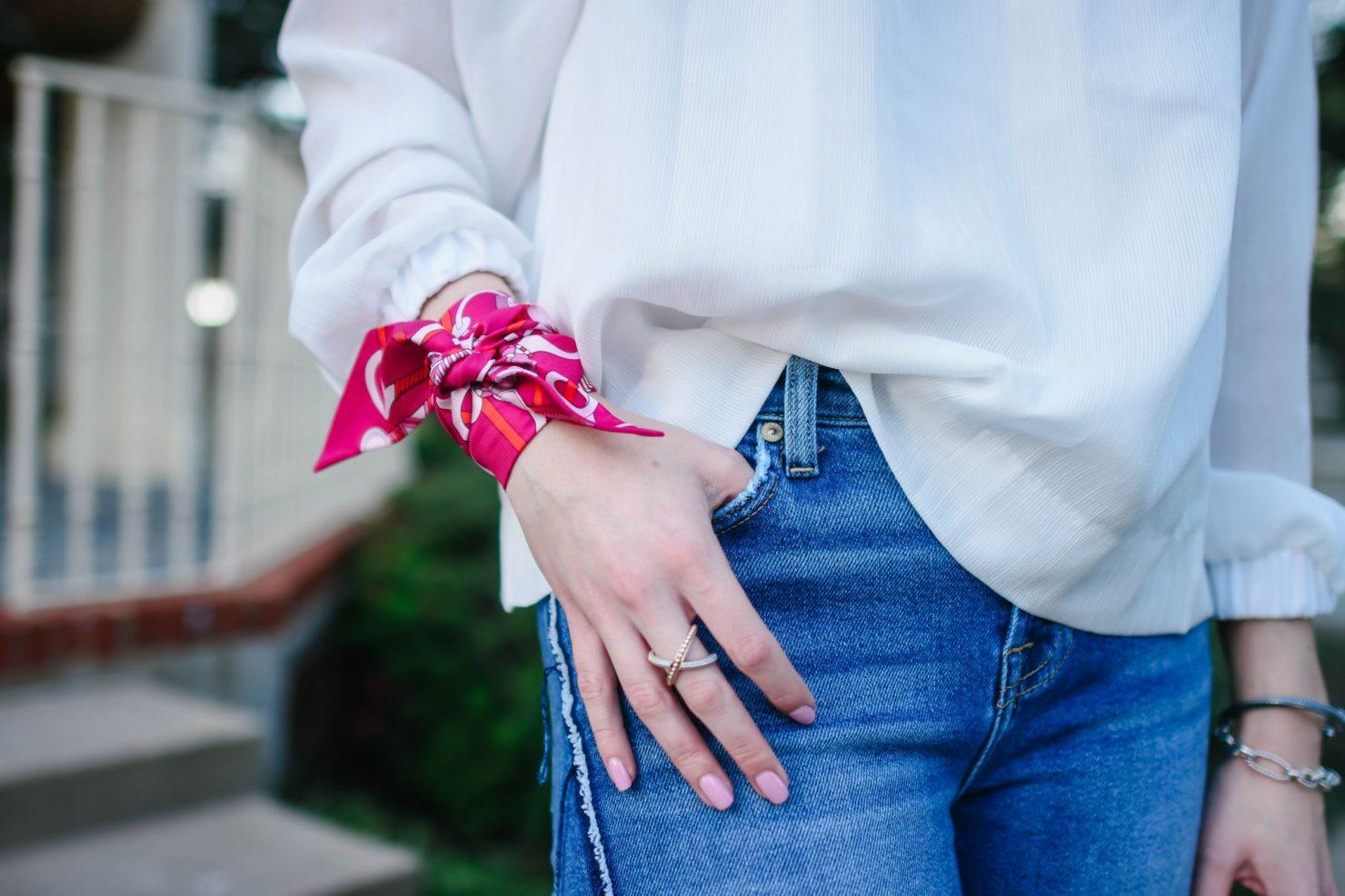 scarves on wrist